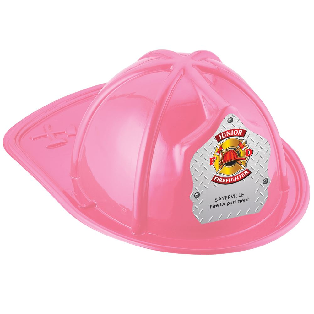 Pink Junior Firefighter Hat With Maltese Cross On Silver With Personalization