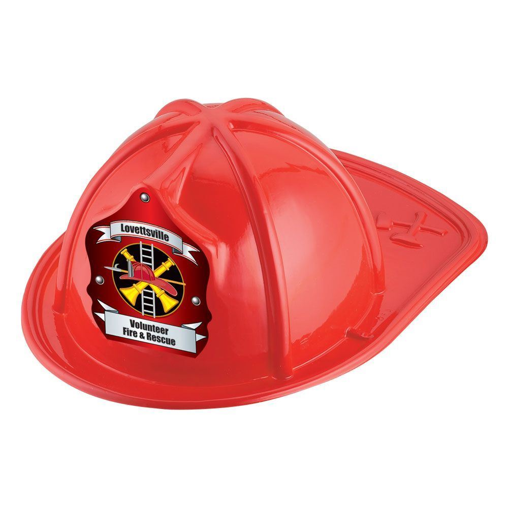 Red Junior Fire Chief Hat With Fire Helmet & Ladder Design With Personalization