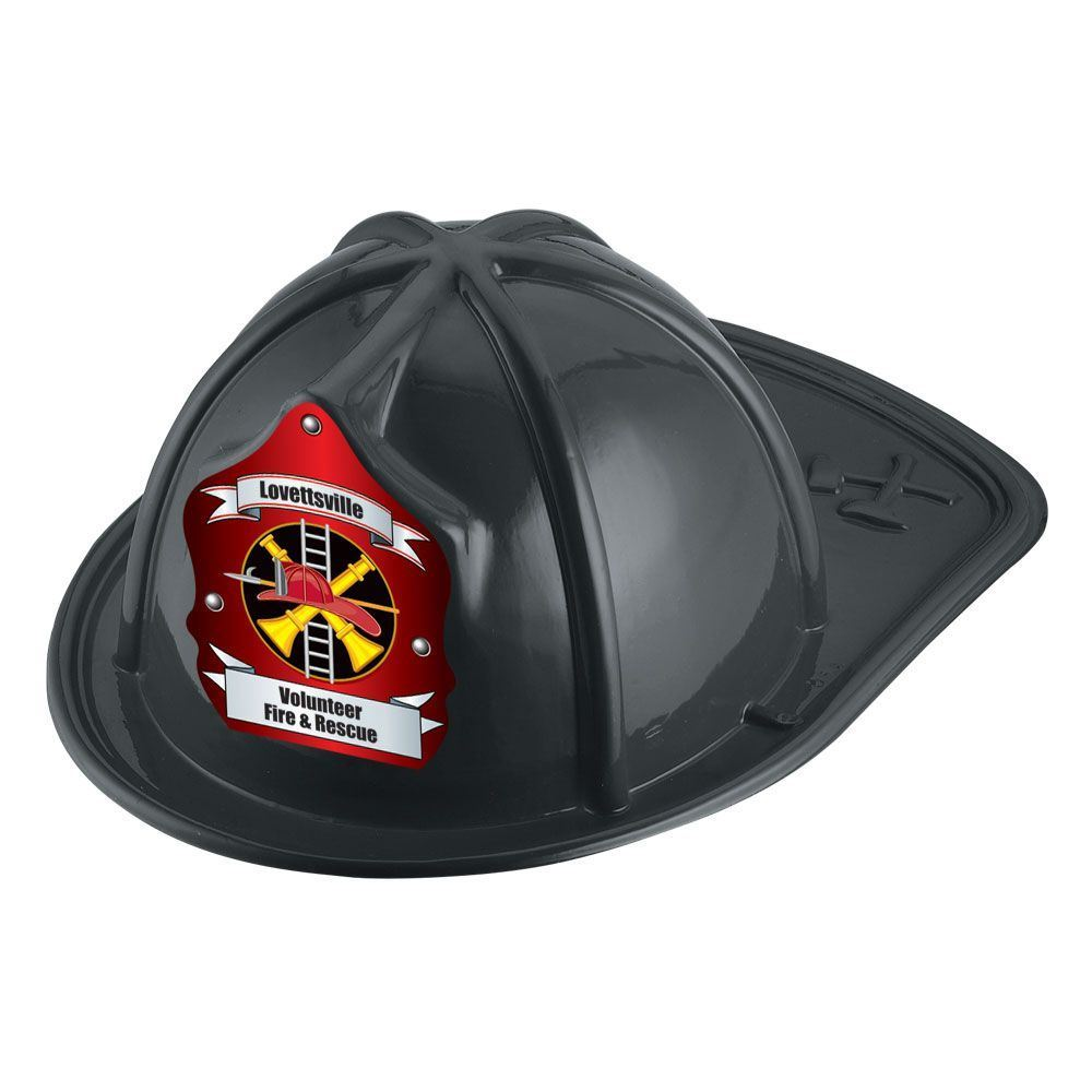 Black Junior Fire Chief Hat With Fire Helmet & Ladder Design With Personalization