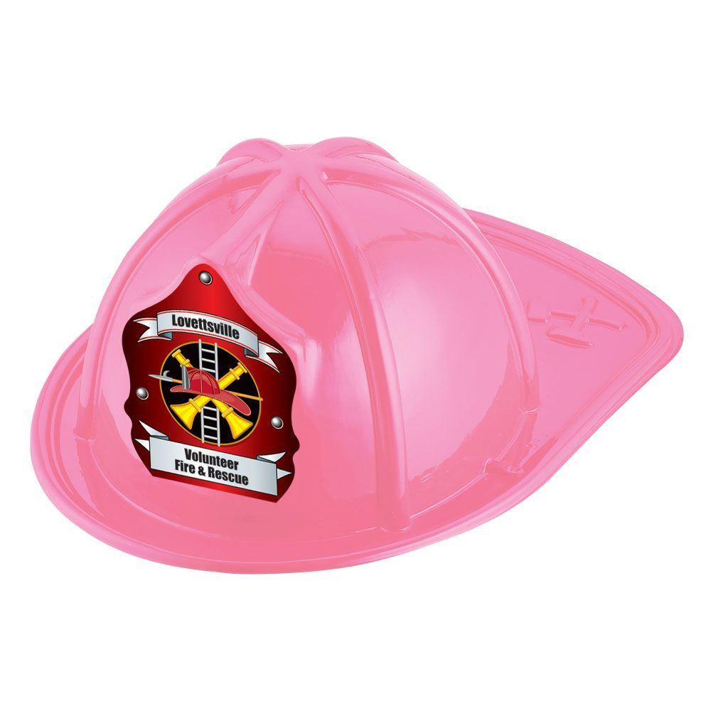 Pink Junior Fire Chief Hat With Fire Helmet & Ladder Design With Personalization