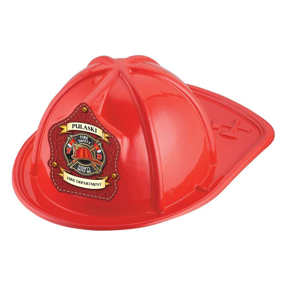 Red Junior Firefighter Hat - Fire Safety Starts With Me With Personalization