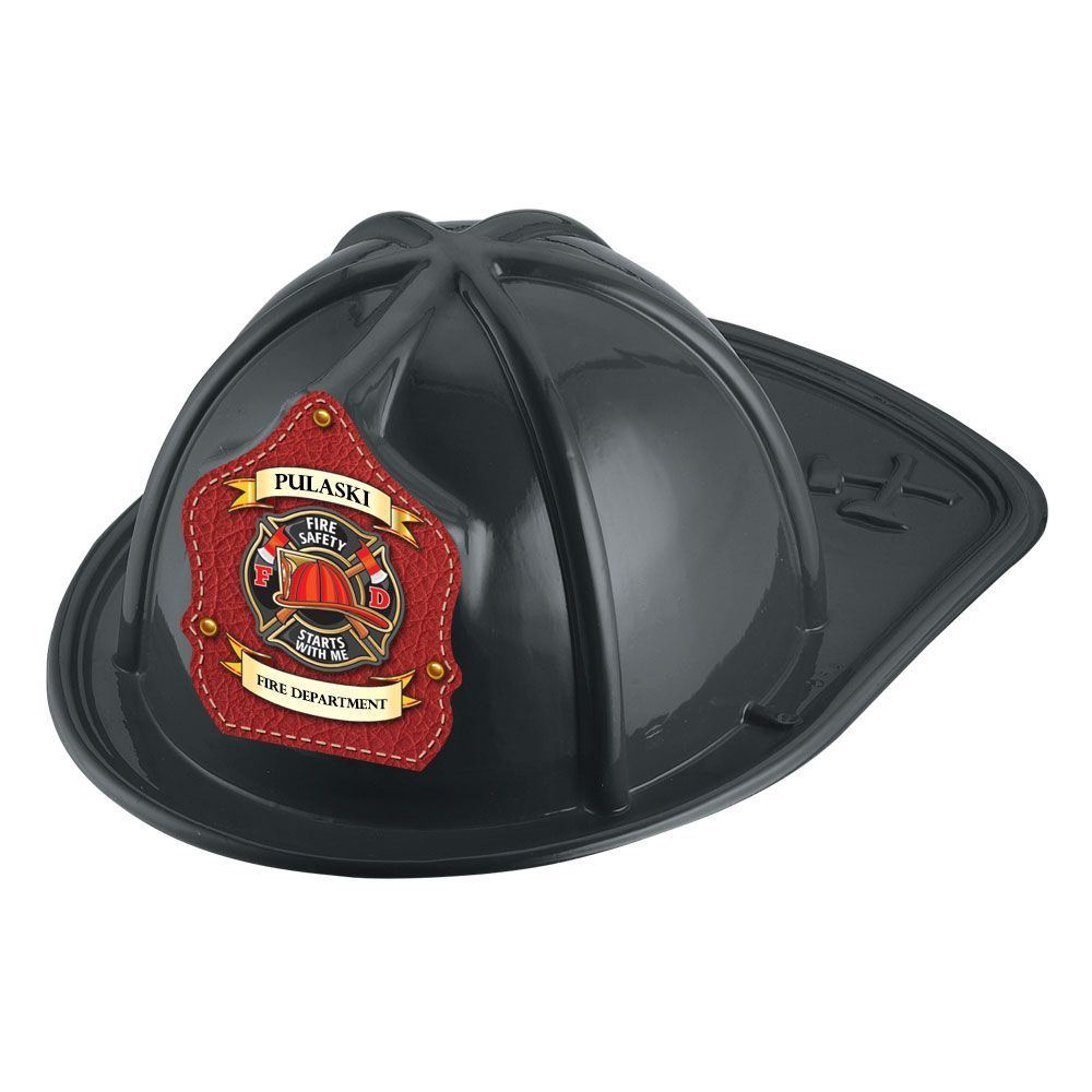 Black Junior Firefighter Hat - Fire Safety Starts With Me With Personalization