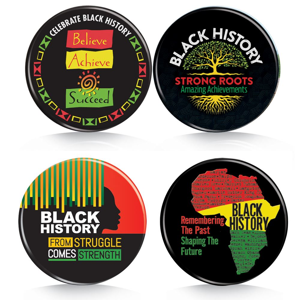 Black History Month Buttons 100-Piece Assortment Pack