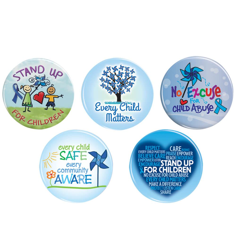 Child Abuse Prevention 50-Button Assortment Pack