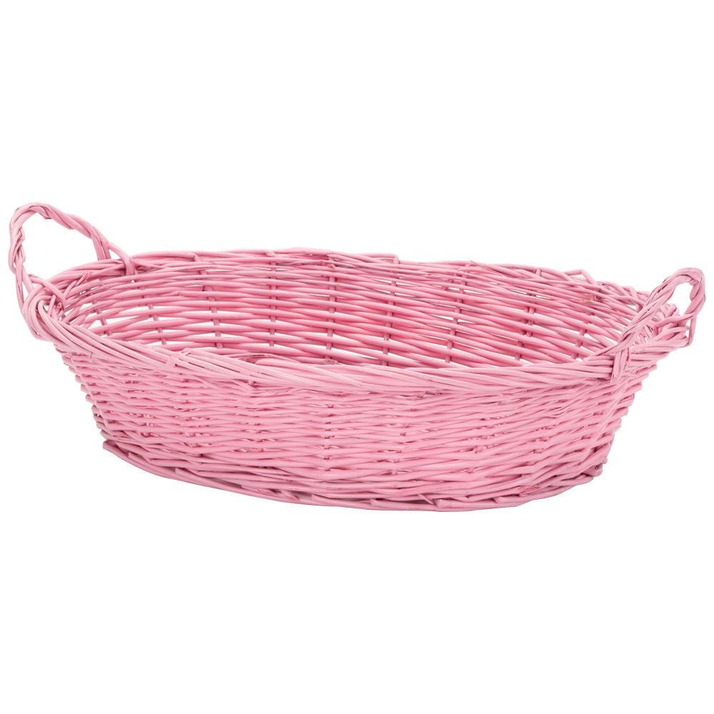 Hand Crafted & Painted Pink Wicker Basket
