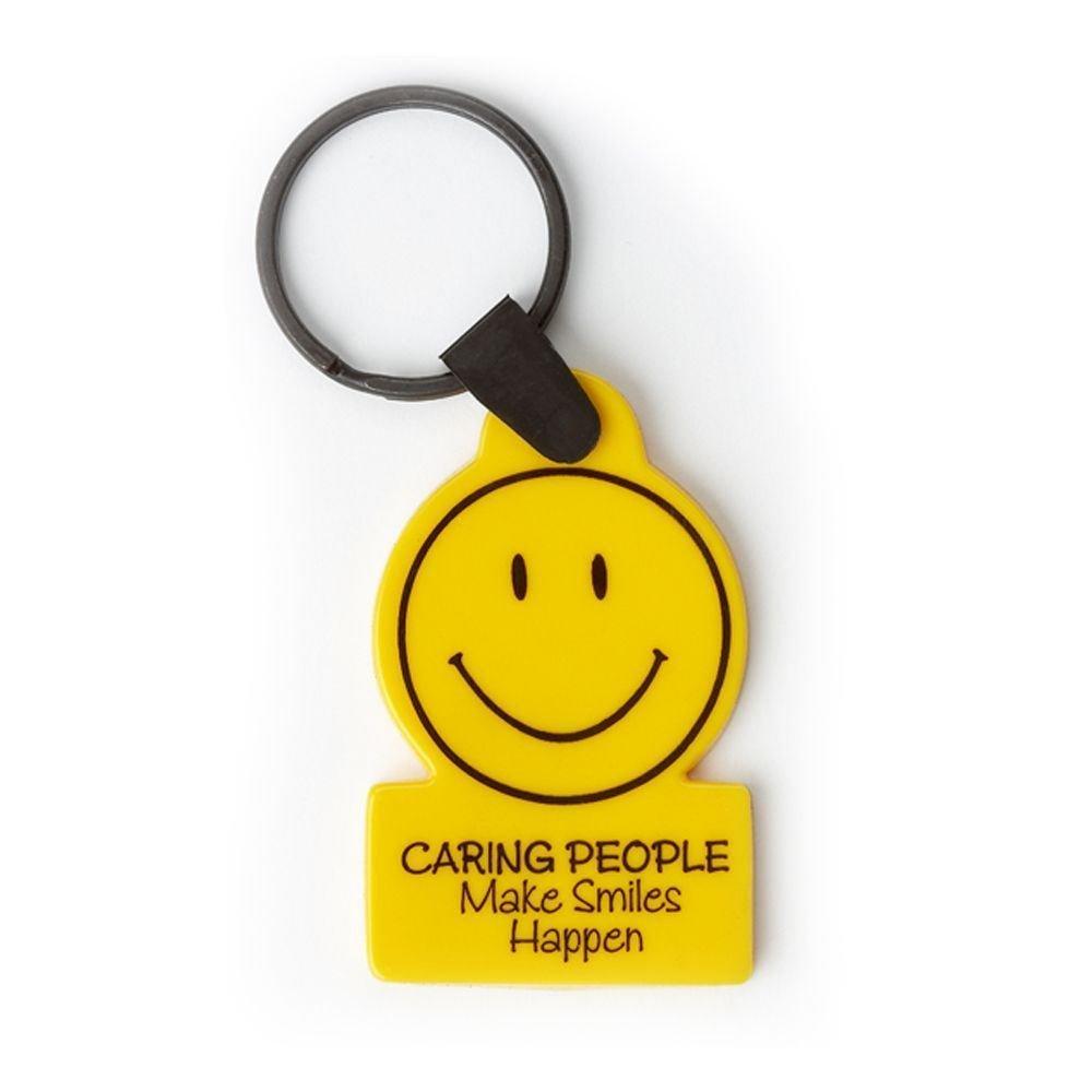 Caring People Make Smiles Happen Key Ring
