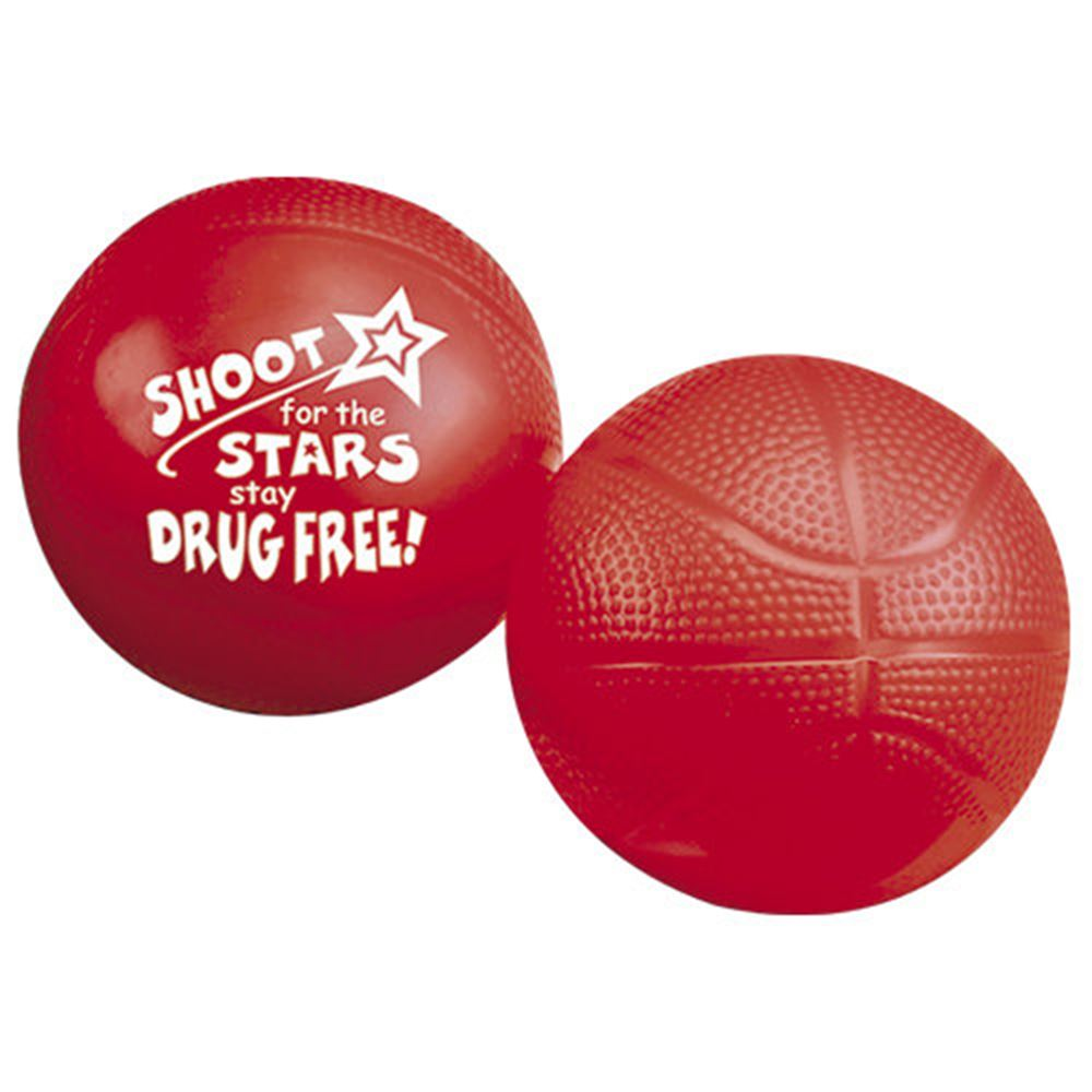 Shoot For The Stars, Stay Drug Free! Red Ribbon Mini Basketballs - Pack of 10