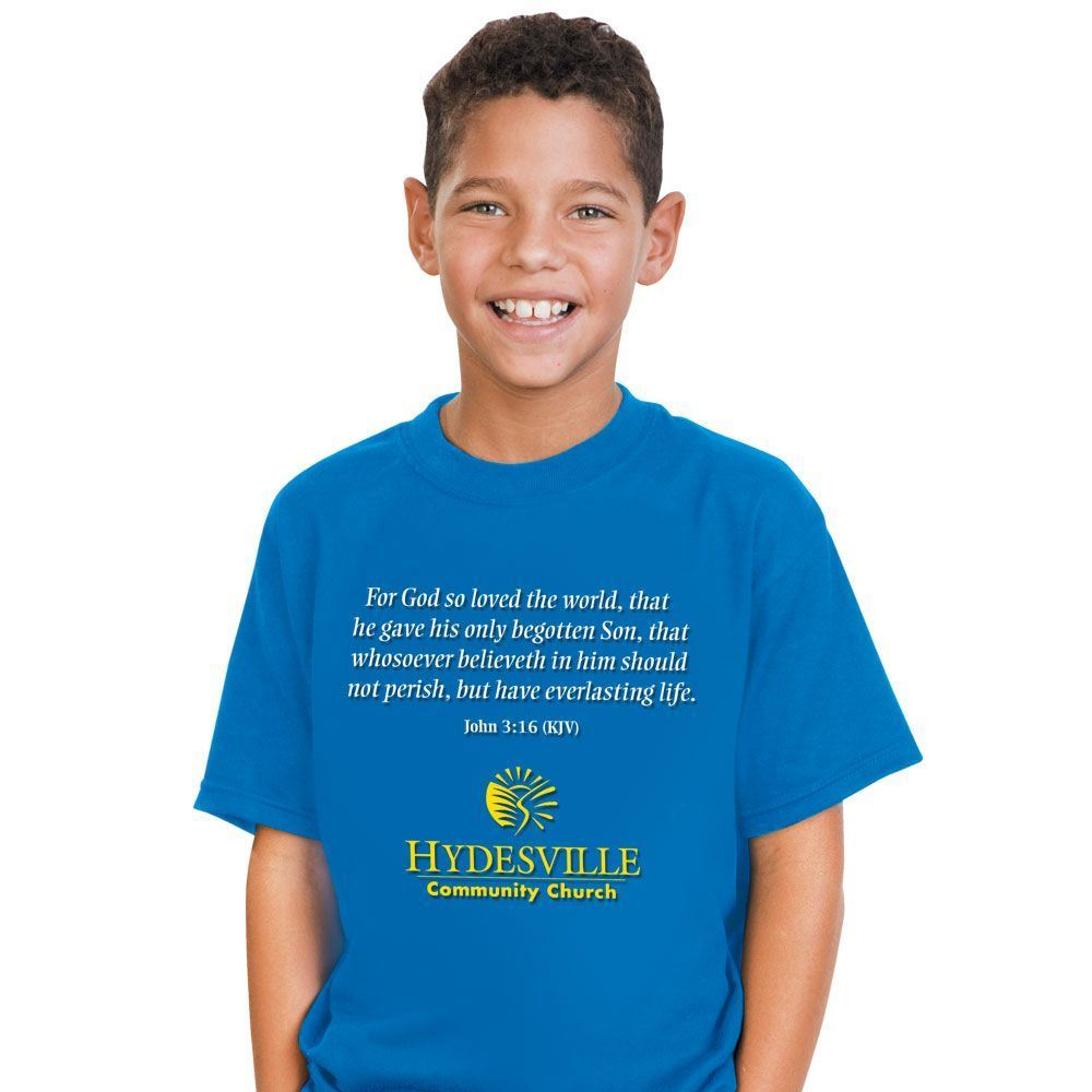 Youth Size Short Sleeve T-Shirt With Religious Slogan and Personalization