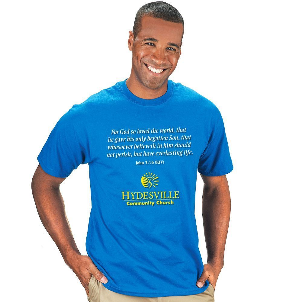Adult Size Short Sleeve T-Shirt With Religious Slogan and Personalization