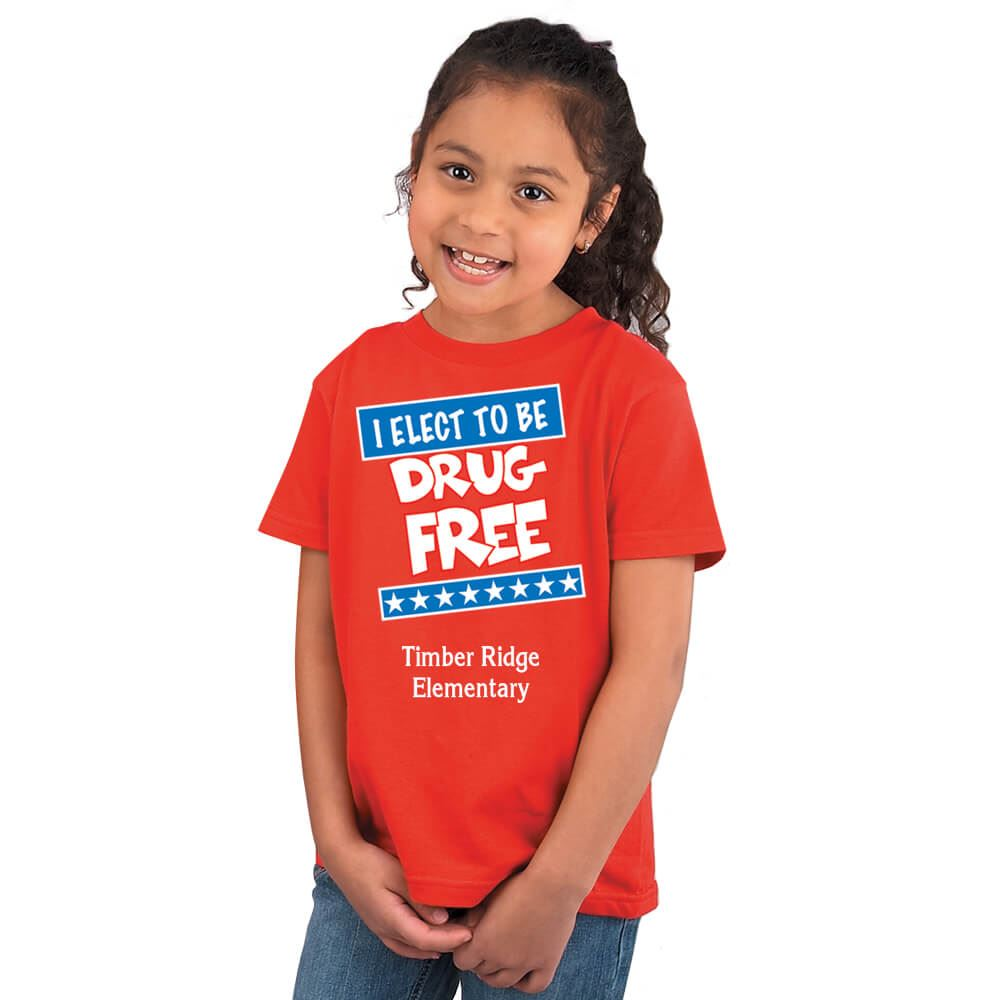 I Elect To Be Drug Free Youth T-Shirt With Personalization