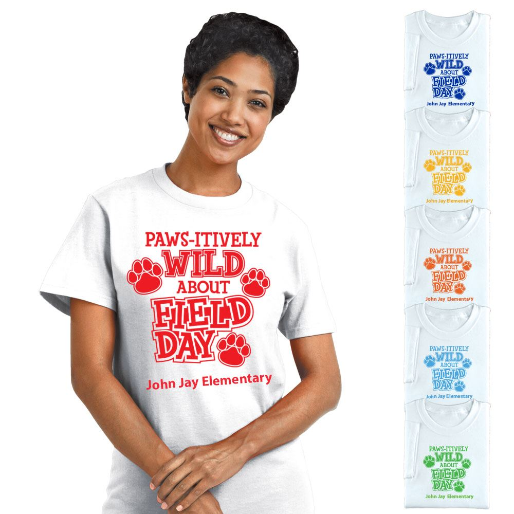 Field Day Adult 100% Cotton White T-Shirt - Personalization Available