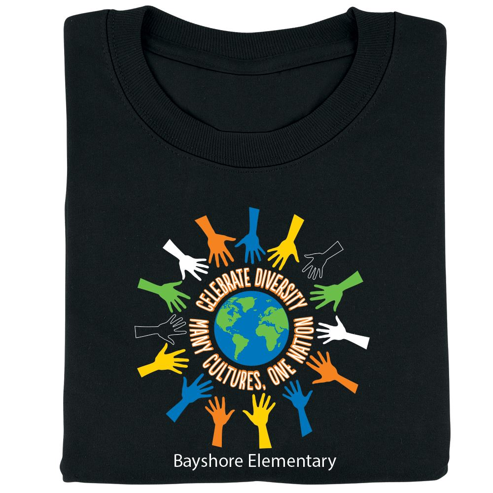 Celebrate Diversity: Many Cultures, One Nation Adult Positive T-Shirt - Personalization Available