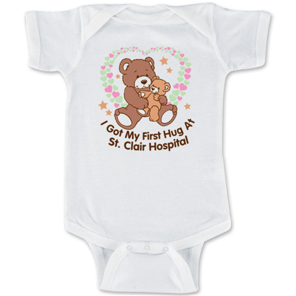 Newborn T-Shirt: I Got My First Hug At (Your Facility's Name) - Personalization Available