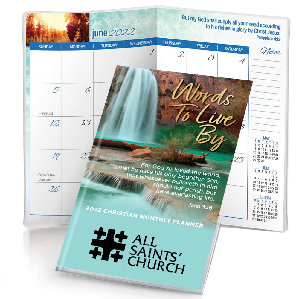 Scenic Lake 2022 Deluxe Words To Live By Christian Monthly Pocket Planner with Sleeve - Personalization Available