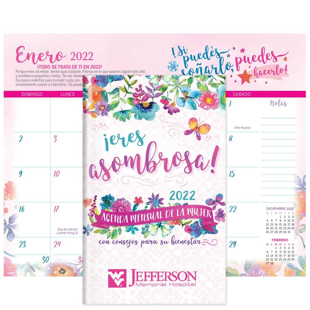 2022 Women's Monthly Planner With Wellness Tips  Spanish Version - Personalization Available