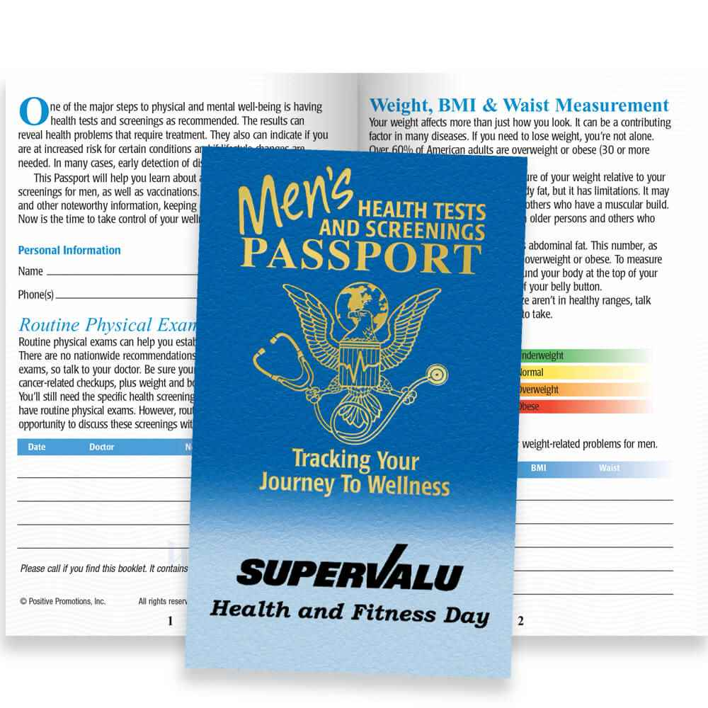 Men's Health Tests And Screenings Passport - Personalization Available
