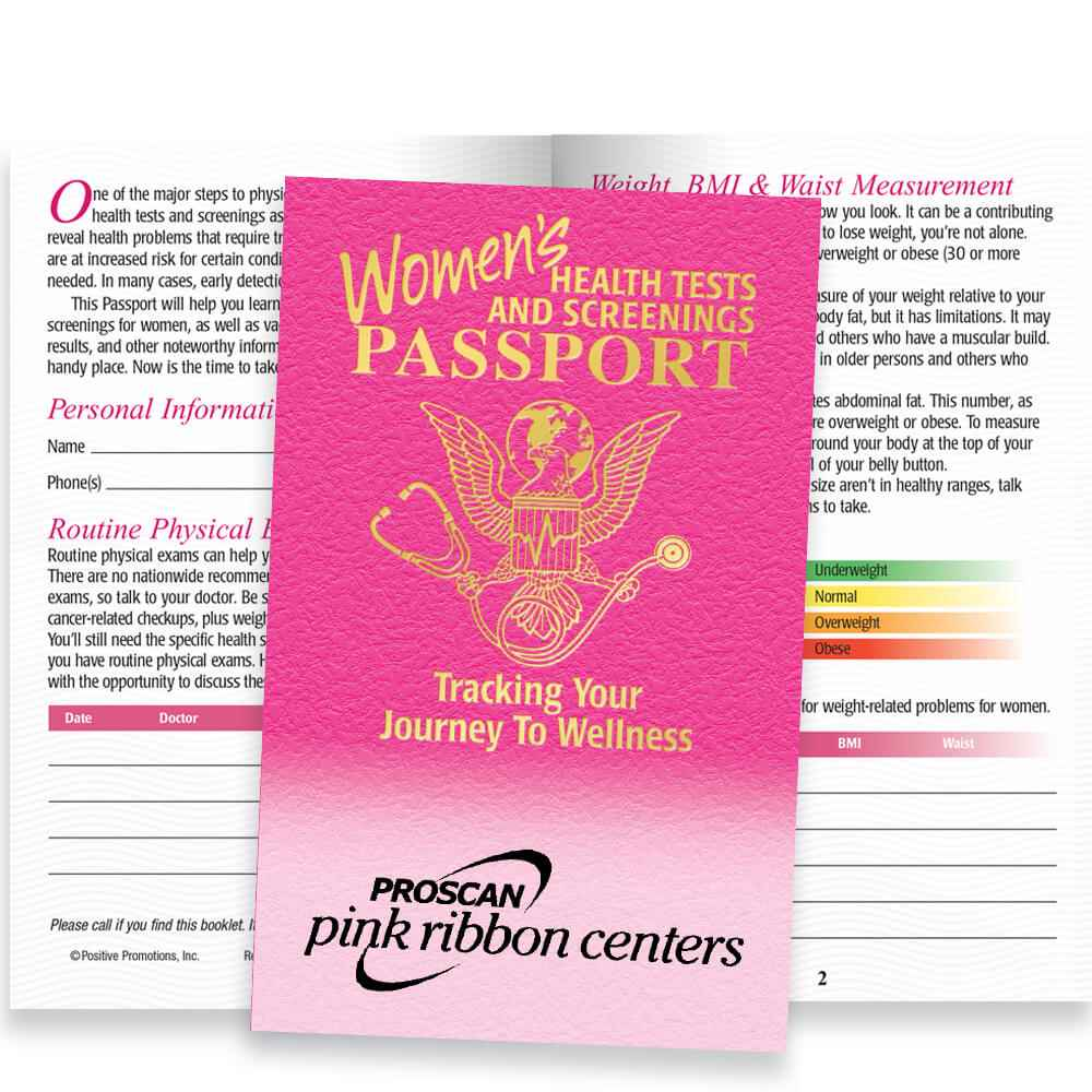 Women's Health Tests And Screenings Passport - Personalization Available