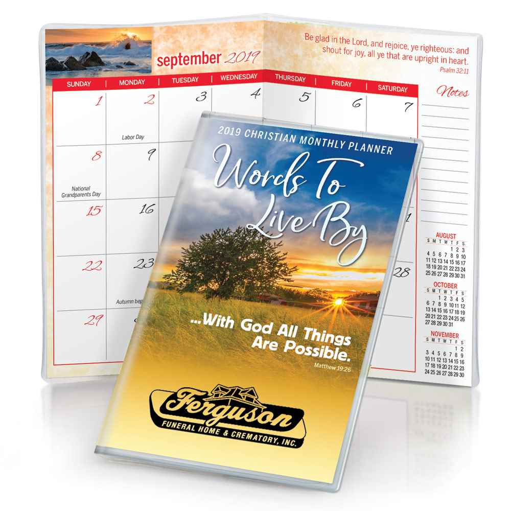 Horizon Sunset (Matthew 19:26) 2019 Deluxe Words To Live By Christian Monthly Pocket Planner with Sleeve - Personalized