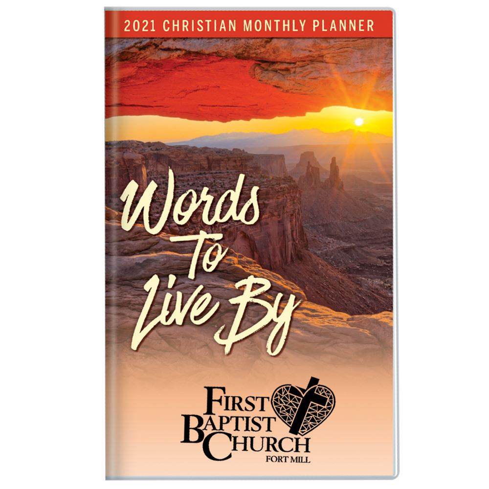 Canyon Sunset�2021 Deluxe Words To Live By Christian Monthly Pocket Planner with Sleeve - Personalization Available
