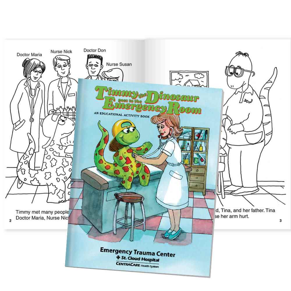 Timmy The Dinosaur Goes To The Emergency Room Educational Activities Book - Personalization Available