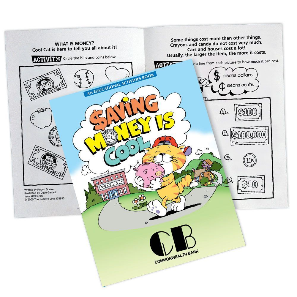 Saving Money Is Cool Educational Activities Book (Bank Edition) - Personalization Available