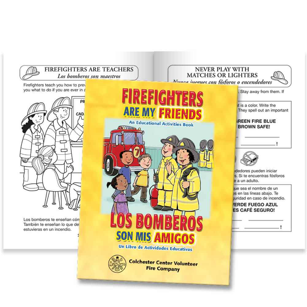 Firefighters Are My Friends Bilingual Educational Activities Book - Personalization Available