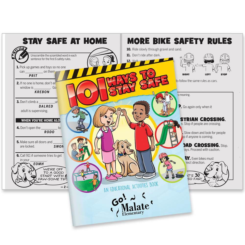 101 Ways To Stay Safe Educational Activities Book - Personalization Available