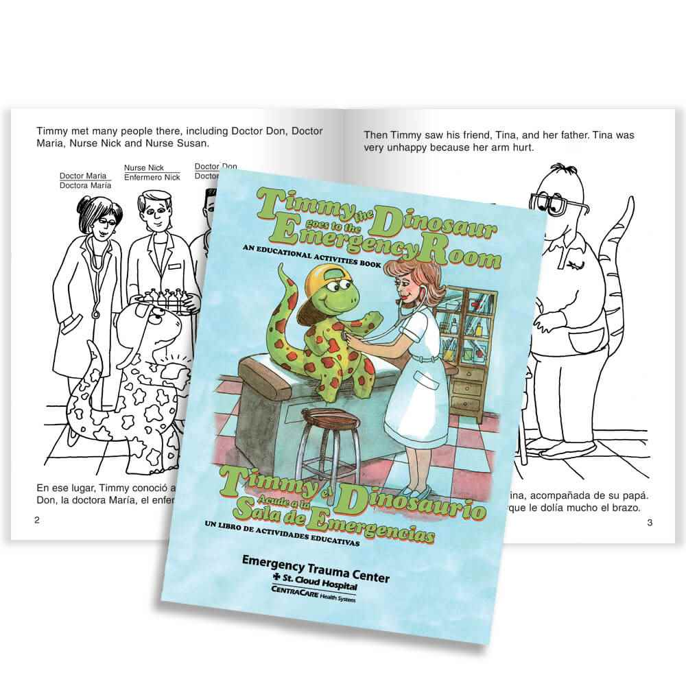 Timmy The Dinosaur Goes To The Emergency Room English/Spanish - Personalization Available
