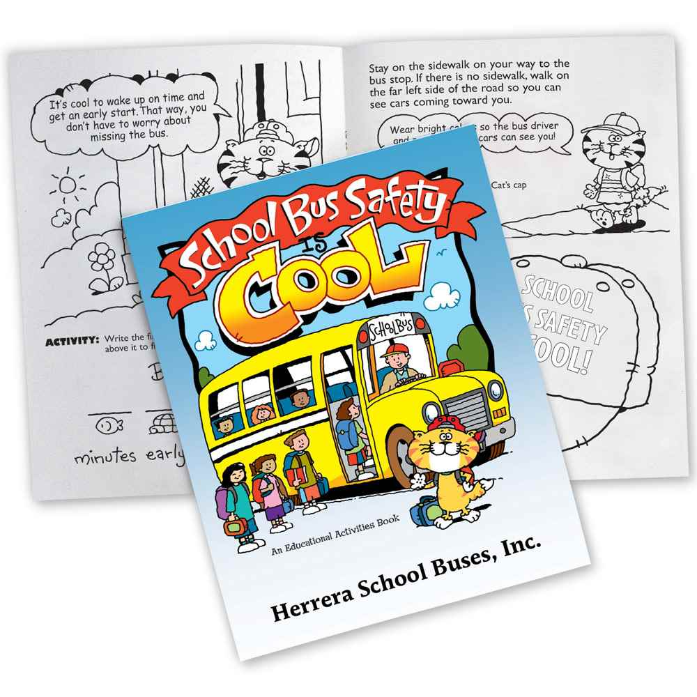 School Bus Safety Is Cool Educational Activities Book - 50 Per Pack - Personalization Available
