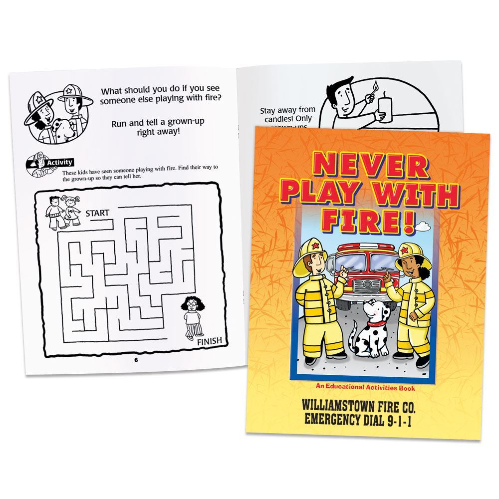 Never Play With Fire! Educational Activities Book - Personalization Available