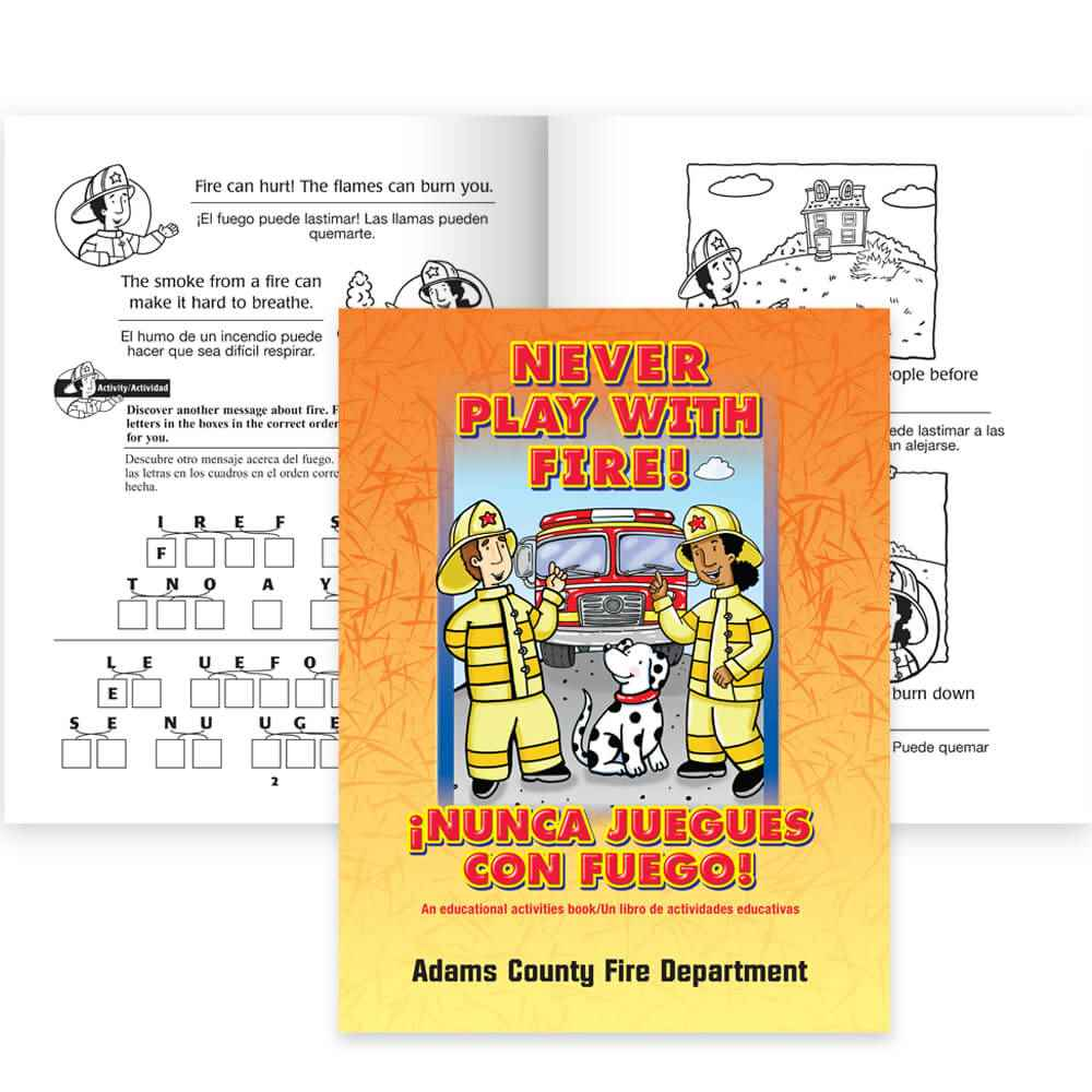 Bilingual Never Play With Fire! Educational Activities Book - Personalization Available