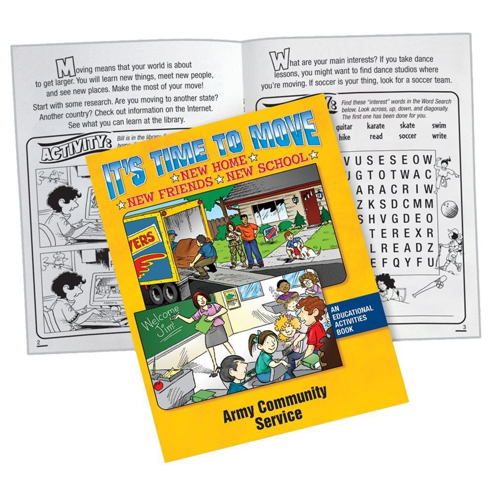 It's Time To Move Educational Activities Book - Personalization Available