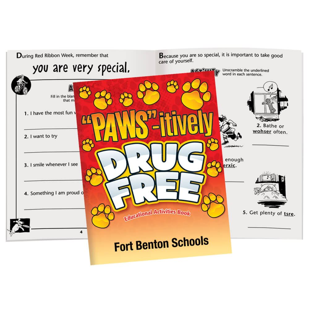 PAWS-itively Drug Free Educational Activities Book - Personalization Available
