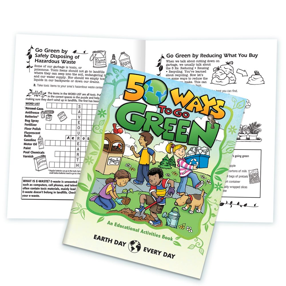 50 Ways To Go Green Educational Activities Book - Personalization Available