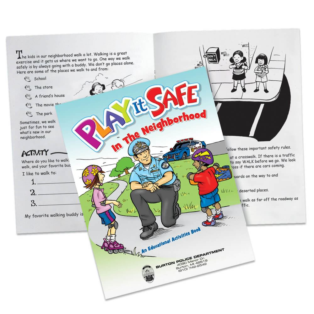 Play It Safe In The Neighborhood Educational Activities Book - Personalization Available