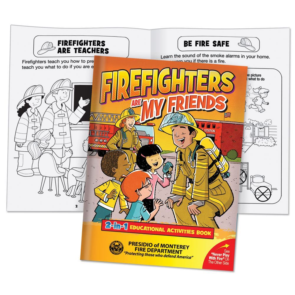 Firefighters Are My Friends/Never Play With Fire 2-in-1 Educational Activities Flipbook - Personalization Available