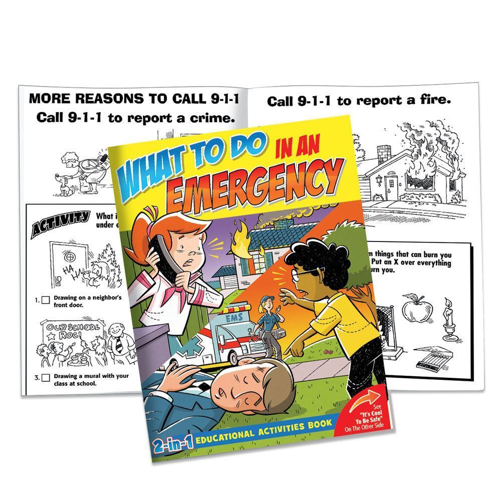 What To Do In An Emergency/It's Cool To Be Safe 2-in-1 Educational Activities Flipbook - Personalization Availalbe