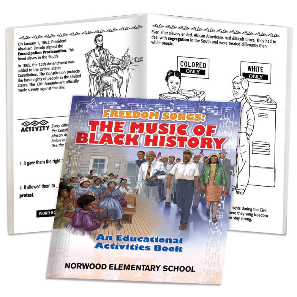 Freedom Songs: The Music Of Black History Educational Activities Book - Personalization Available