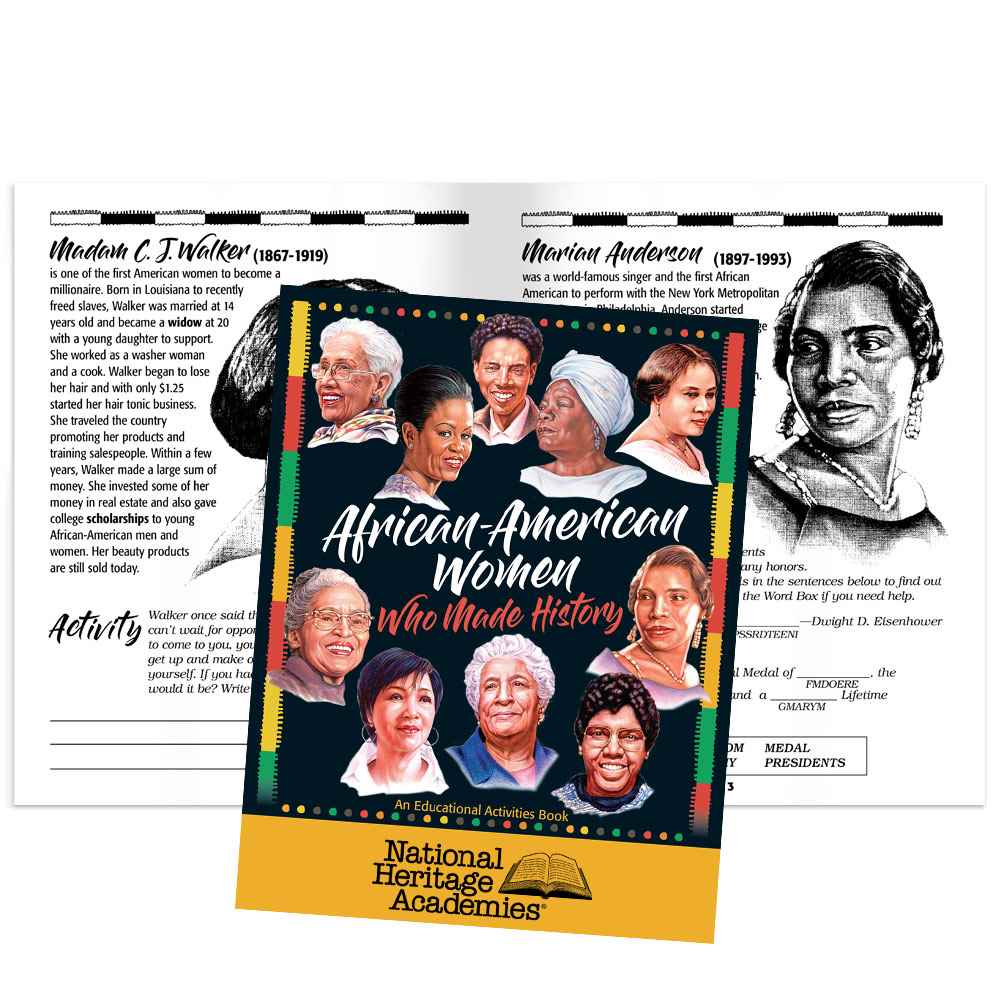 African-American Women Who Made History Educational Activities Book - Personalization Available