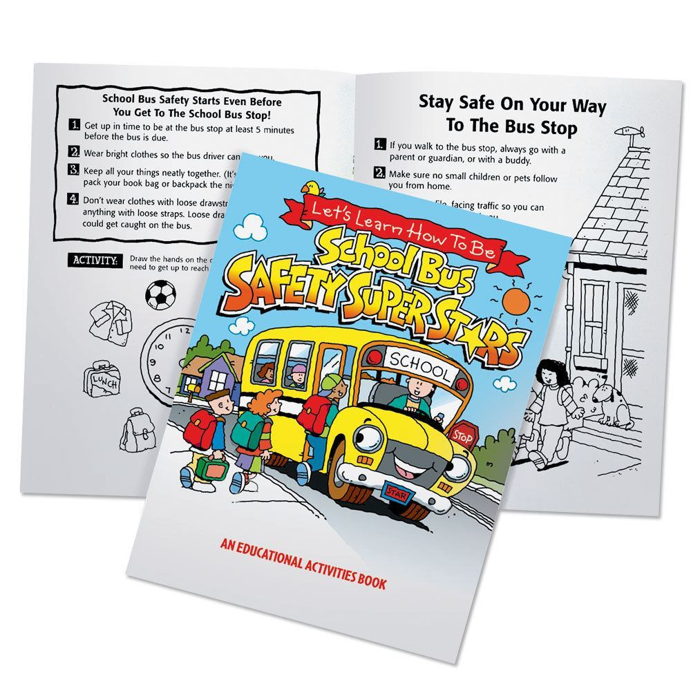 Let's Learn How To Be School Bus Safety Super Stars Educational Activities Book - Pack of 50