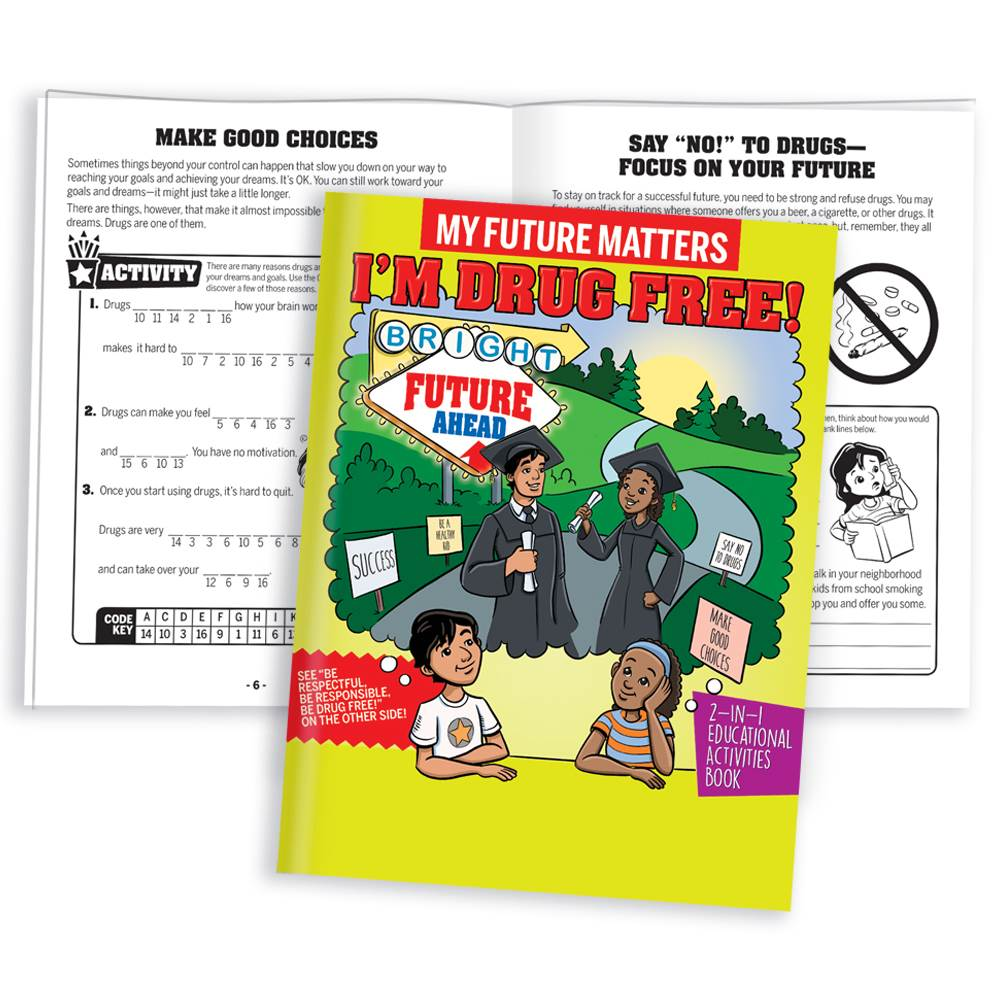 My Future Matters, I'm Drug Free / Be Respectful, Responsible, Drug Free! 2-In-1 Flipbook Educational Activities Books - Pack of 50