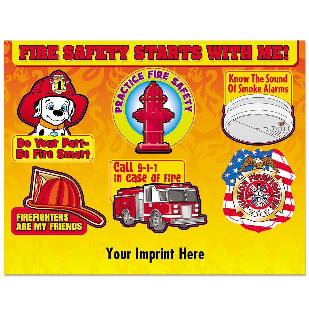 Fire Safety Starts With Me (Imprinted) Fire Safety Stickers Sheet - Personalization Available