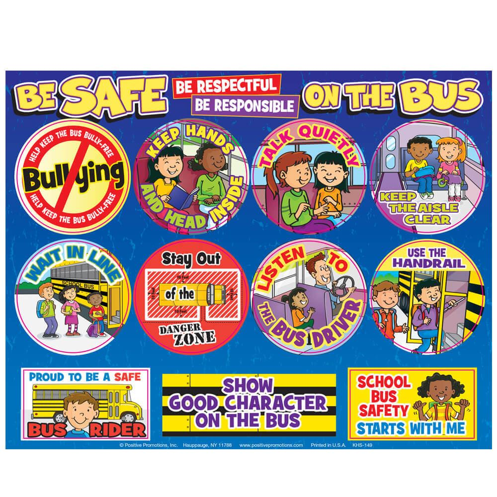 Be Safe, Be Respectful, Be Responsible On The Bus Sticker Sheet