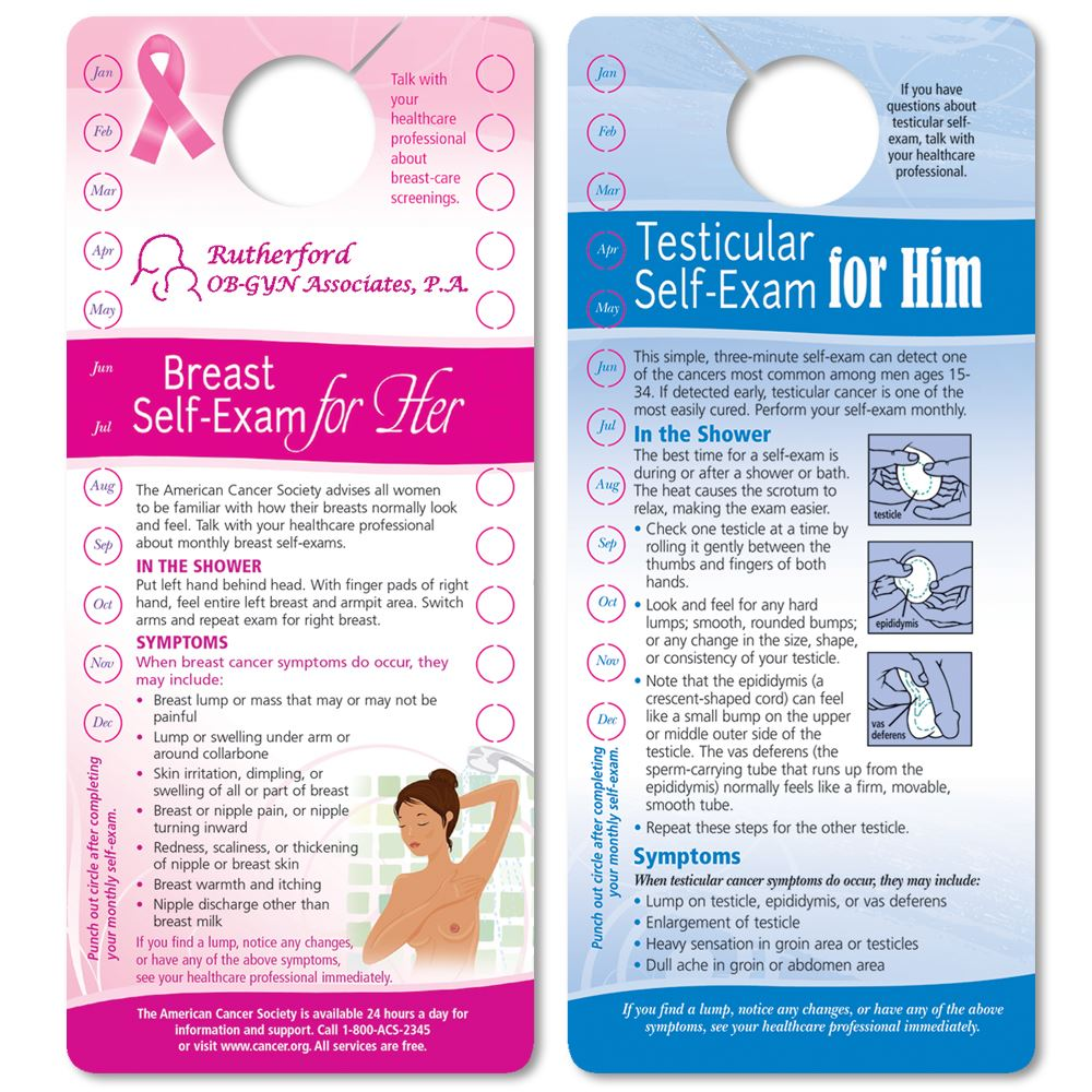 Breast/Testicular Self-Exam Two-Sided Punch-Out Shower Card (English) - Personalization Available