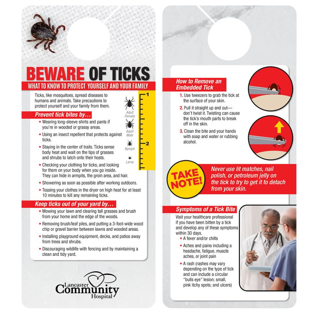 Beware Of Ticks: What To Know To Protect Yourself And Your Family Door Hanger - Personalization Available