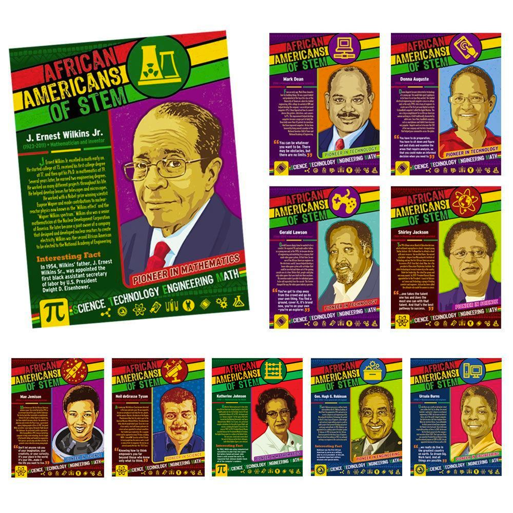 African Americans Of STEM 10-Piece Laminated Poster Set