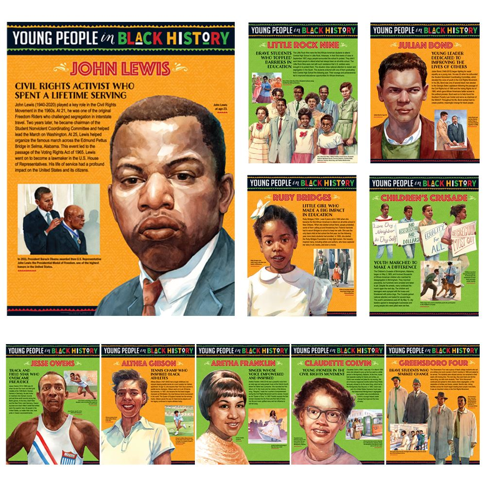 Young People In Black History Laminated Poster Set - Pack of 10