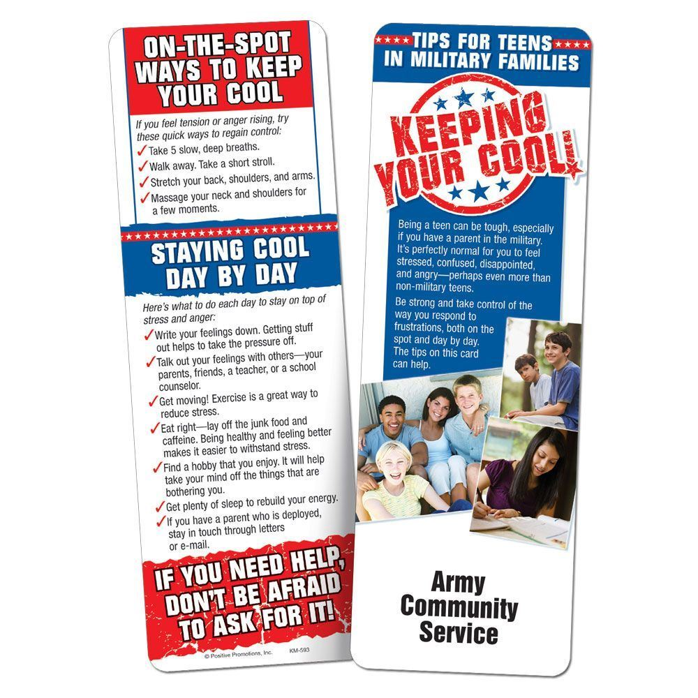 Keeping Your Cool! Tips For Teens In Military Families Bookmark - Personalization Available
