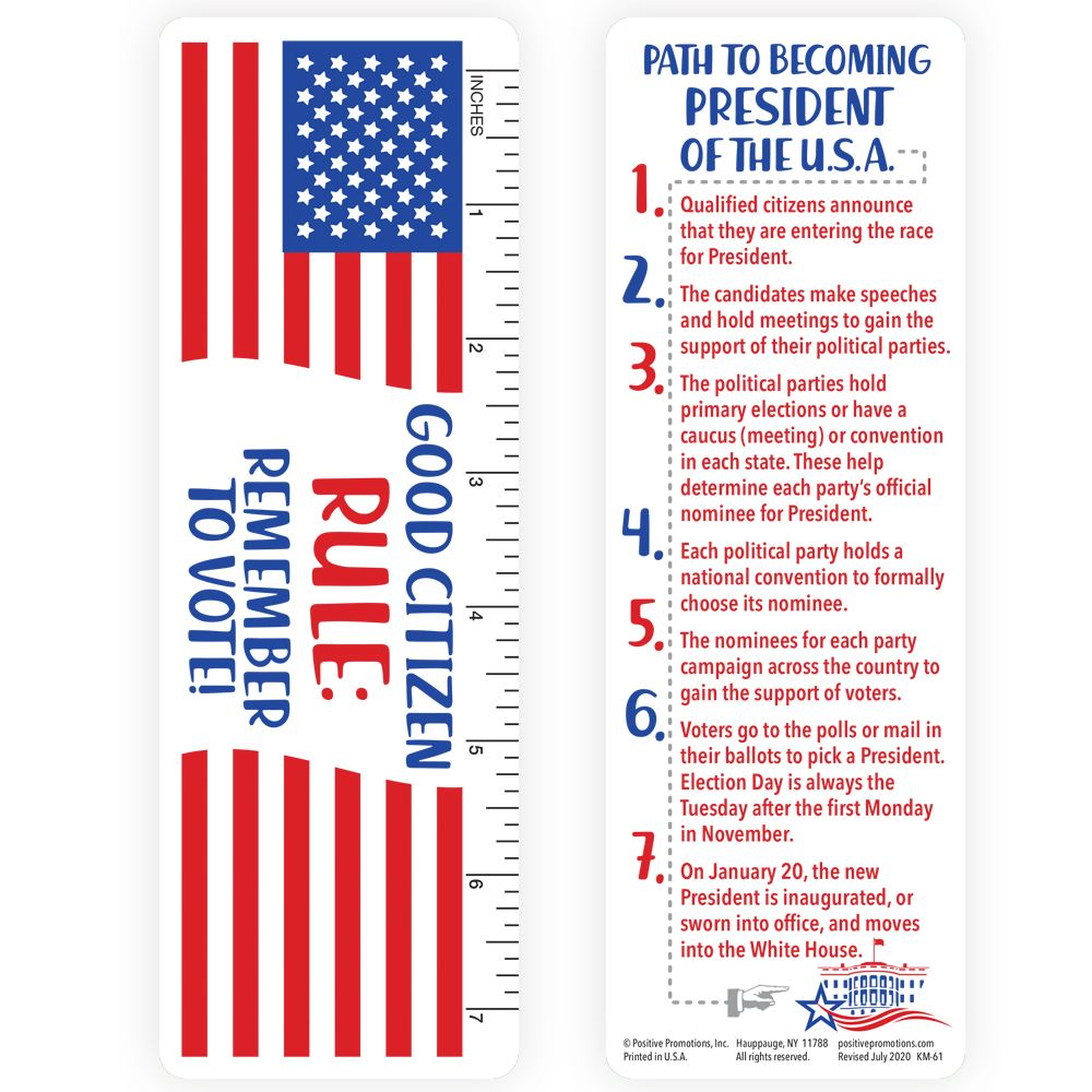 Good Citizen Rule: Remember To Vote Bookmark/Ruler - 25 Per Pack