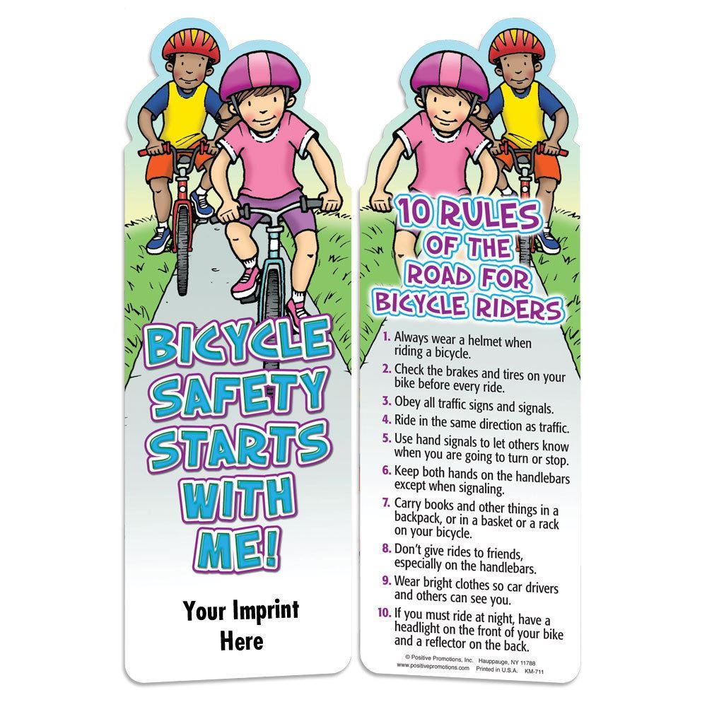 Bicycle Safety Starts With Me! Die-Cut Bookmark - Personalization Available
